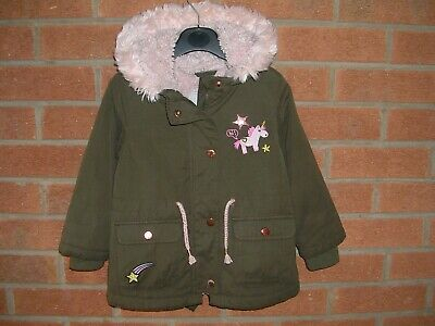 GEORGE Girls UNICORN Khaki Green Fleece Lined Coat Hooded Jacket Age 2-3 98cm