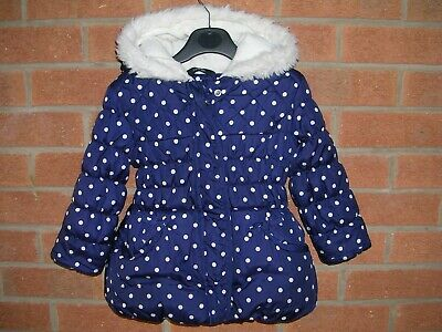 GEORGE Girls Navy Blue Spotty Fleece Lined Coat Hooded Jacket Age 2-3 98cm