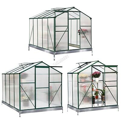 BIRCHTREE Clear Polycarbonate Greenhouse Aluminium With Base Slide Door Green