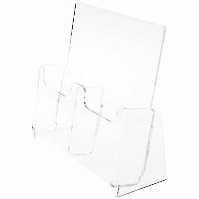 """Plymor Acrylic 2-Pocket Brochure Holder (Countertop), Fits 4"""" W Items (3 Pack)"""