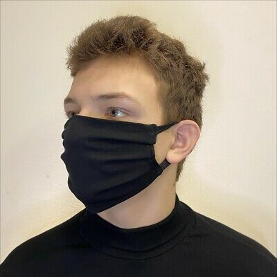 HAND MADE COTTON FABRIC FACE MASK DOUBLE LAYER WASHABLE Black Mod#01
