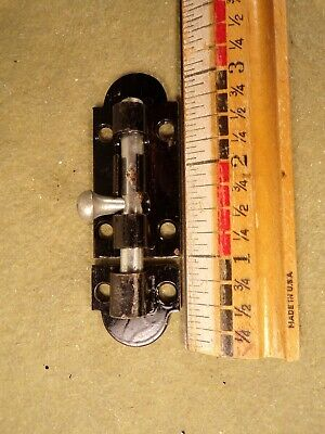 Vintage Stanley Black Metal Slide Bolt Lock Barrel Bolt Door Gate Shed Hardware