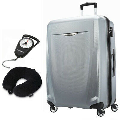 Samsonite Winfield 3 DLX Spinner 71/25 Checked Luggage Silver + Scale & Pillow