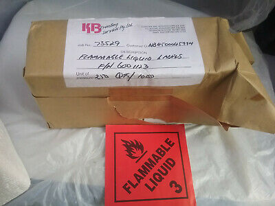 *** Flammable Liquid 3 *** Red Labels Stickers   10Cmx10Cm    (10 Pieces)