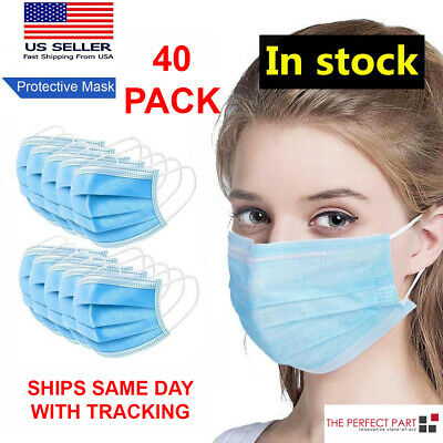 40 PCS Face Mask Medical Surgical Dental Disposable 3-Ply Earloop Mouth Cover