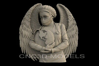 3D Model STL File CNC Artcam Aspire Vcarve Nurse DOCTOR ANGEL Stay Home IS706