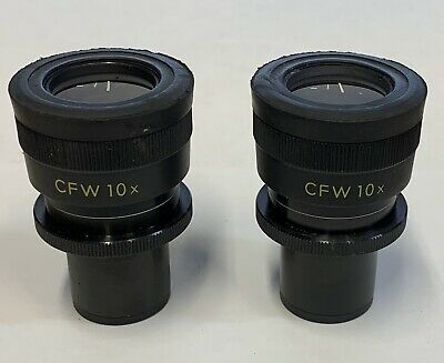 A Pair Of Nikon CFW 10X Widefield Microscope Eyepieces 23mm Adjustable