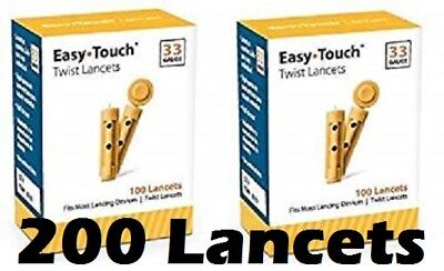200 EASYTOUCH 33G Latex Free PREMIUM Sterile Lancets - 2 Boxes of 100 - NIB