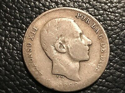 KEY DATE RARE SPAIN-PHILIPPINES: 1880 ALFONSO XII 20 CENTAVOS RARE 70,000 Minted