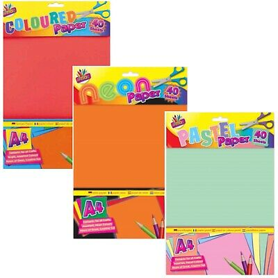 40x Sheets of A4 Coloured Activity 80gsm Paper Craft - Bright, Neon or Pastel