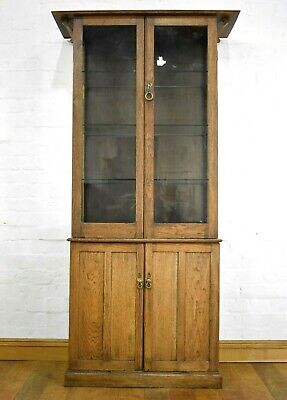 Antique vintage oak double display cabinet / cupboard