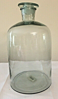 Antique / Vintage European Large Glass Apothecary Jar With Ground Glass Stopper