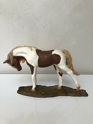 Vintage Signed Living Stone Resin Painted Horse With Life-Like Glass Eyes