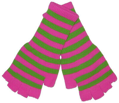 New Womens Pink Green Stripe Fingerless Knit Gloves 80s 90s Gothic Goth Punk Emo