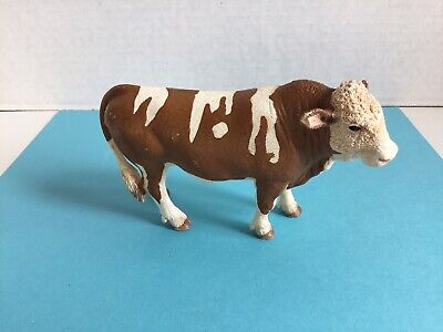 Schleich Brown & White SIMMENTAL BULL Cow Steer Farm Figure 2008 Retired NICE
