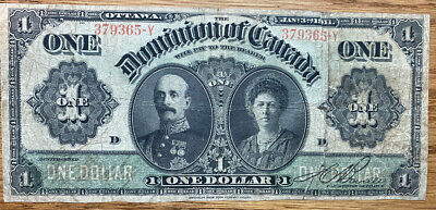 """1911 The Dominion Of Canada """"Lord And Lady Grey"""" $1  *Taped*"""