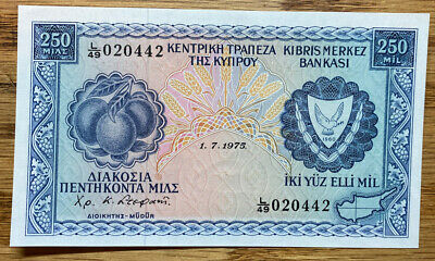 1975 Central Bank of Cyprus 250 mil mils banknote  crisp RARE NOTE