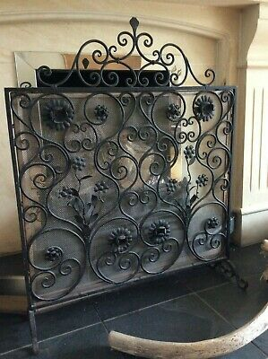 Decorative Antique Wrought Iron Fire Screen ~ Beautiful Scroll & Floral Detail