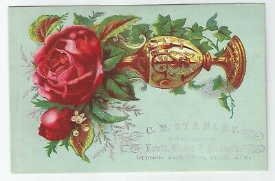 Antique 1880s C. M. Stanley Boots & Shoes Victorian Rose Trade Card Ithaca, NY