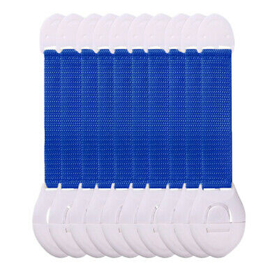 10x Baby Cabinet Lock Adhesive Kids Protection Straps Latch 19-25cm Blue