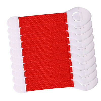 10xBaby Proofing Cabinet Lock Adhesive Kids Protection Straps Latch 19-25cm Red