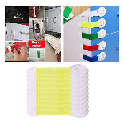 10x Baby Cabinet Lock Adhesive Kids Protection Straps Latch 19-25cm Yellow