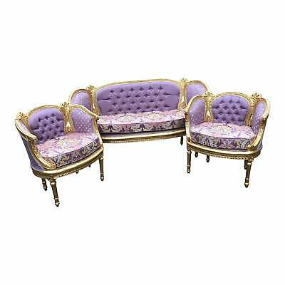 Vintage French Louis XVI Corbeille Living Room Set 1900's - 3 Pieces