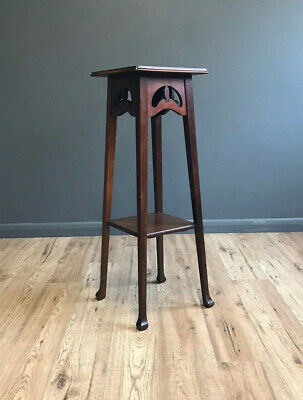 Quality Antique Art Nouveau Mahogany Plant Stand / Vase Stand / Display Stand