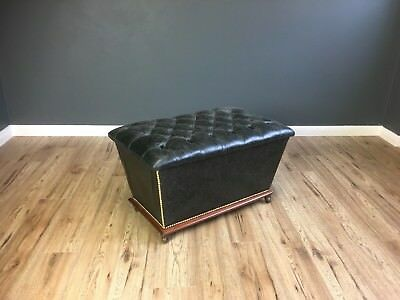 Antique Leather Stool Storage Ottoman Foot Stool Black Chesterfield Deep Button