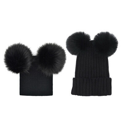 2x Baby Kids Mother Winter Hat Knitted Warm Double Fur Pompom Caps Beanies Black