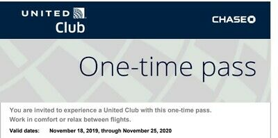 United Club One Time Pass EXP 11/25/2020 - Fast Email Delivery