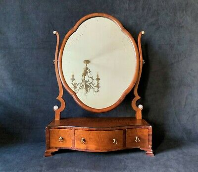 A Fine Late 18thc George III Serpentine Mahogany Bedroom Dressing Table Mirror