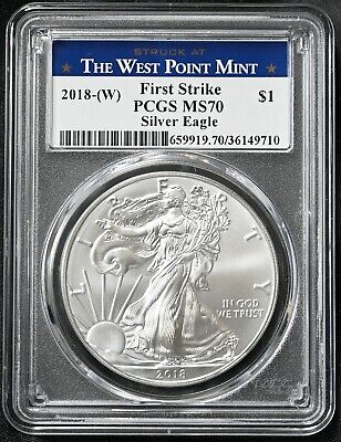 2018-W Silver American Eagle $1 Coin MS 70 PCGS First Strike West Point FREE S/H