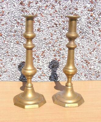 """pair of 12"""" antique brass Candlesticks with octagonal bases"""