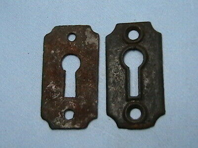 #Y    2 ANTIQUE Escutcheons Steel Key Hole Covers Cabinet Furniture Hardware