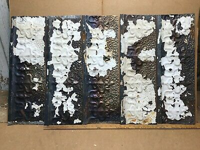 """5 pc 24"""" x 8"""" Fancy Antique Ceiling Tin Vintage Reclaimed Salvage Art Craft"""