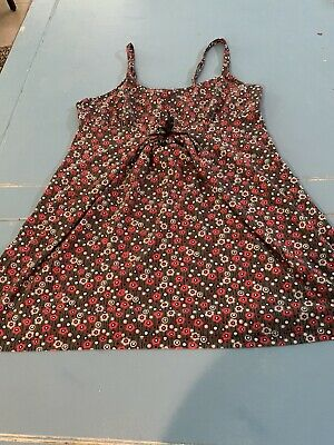 Grey and Red Geo Floral Sexy Nightie Size Large Nightgown Camisole Chemise Gown