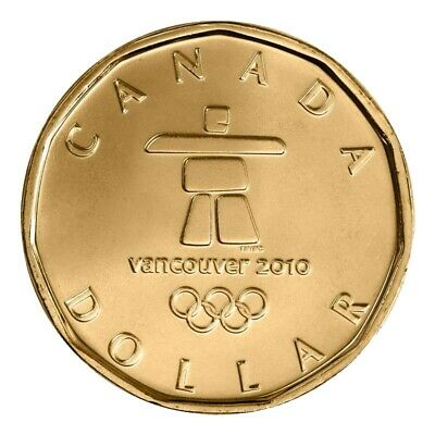2010 Canada Vancouver Olympics Inukshuk 1 Dollar Coin Loonie From Mint Roll UNC