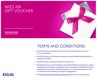 Wizzair Gift Certificates for 50 Euro