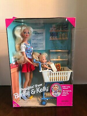 Shoppin Fun Barbie and Kelly Baby Sister Shopping 1995 Vintage Mattel NIB buggy