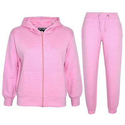 Kids Girls Baby Plain Tracksuit Hooded Hoodie Bottom Jog Suit Joggers 2-13 Years