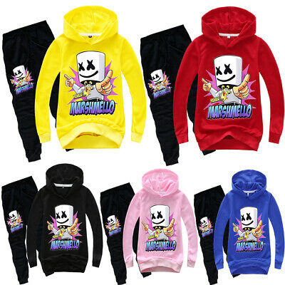 Kid Boy Girl DJ Marshmallow Top+Pant Hooded Hoodie Sweatshirt Outfit Clothes Set