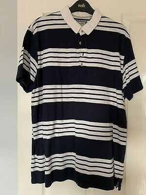 NEXT Mens Blue with White Stripe, White Collar Polo Short Sleeve Casual Top XL