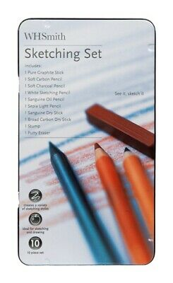 WHSmith 10 Piece Sketching Set+A5 Drawing Pad✏️Charcoal✏️Art✏️Sanguine✏️Graphite