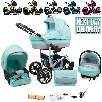 Baby Pram Buggy Car Seat 3 in 1 Travel System Pushchair Stroller Newborn