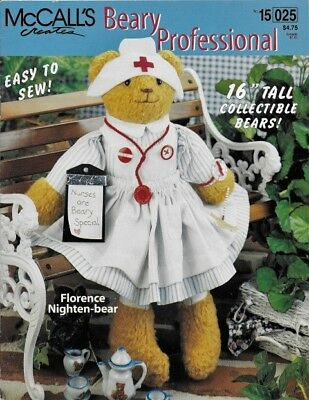 """BEARY PROFESSIONAL Pattern Booklet to make 16"""" BEAR for NURSE or TEACHER"""