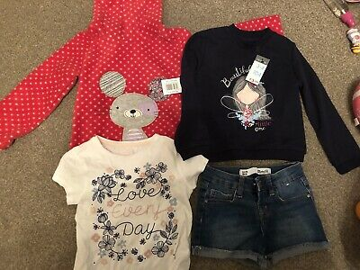 Matalan / Primark Girls Bundle - Jumpers, T-shirt & Shorts - Age 3-4 Years