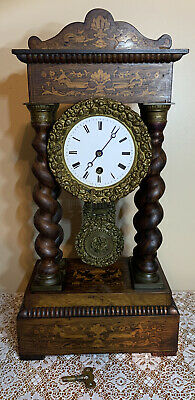 Constantine Detouche French Portico Clock Time Only Working With Key & Pendulum