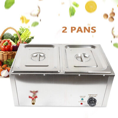 2 Pan Hot Well Bain Marie Food Warmer 110V 850W Steam Table Steamer Restaurant