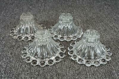 "Vintage Lot Of 4 Glass Candle Holders 4 3/4"" X 2 5/8"" Hobnail Rim"